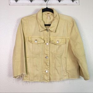Free People Raw Hem Cropped Denim Jacket Medium